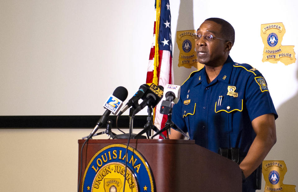 FILE - In this Friday, May 21, 2021 file photo, Col. Lamar Davis, superintendent of the Louisiana State Police, speaks about the agency's release of video involving the death of Ronald Greene, at a news conference in Baton Rouge, La. Greene was jolted with stun guns, put in a chokehold and beaten by troopers, and his death is now the subject of a federal civil rights investigation. (Alyssa Berry/The Advocate via AP)