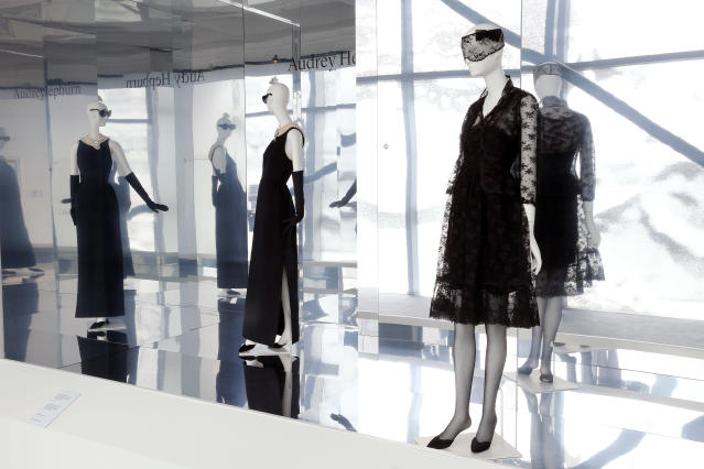"<p>Some of the looks Hepburn wore in the film <em>How to Steal a Million</em> are displayed during the 2017 exhibition ""Hubert de Givenchy"" at the Calais lace museum in France. (Photo: Thierry Chesnot/Getty Images) </p>"