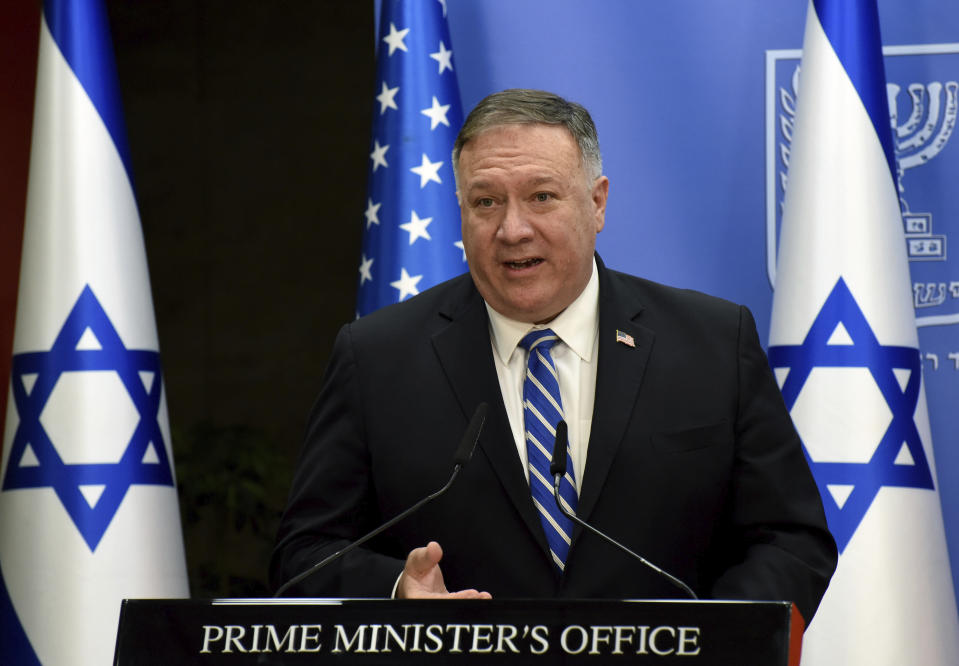 U.S. Secretary of State Mike Pompeo and Israeli Prime Minister Benjamin Netanyahu make joint statements to the press after their meeting, in Jerusalem, Monday, Aug. 24, 2020. (Debbie Hill/Pool via AP)