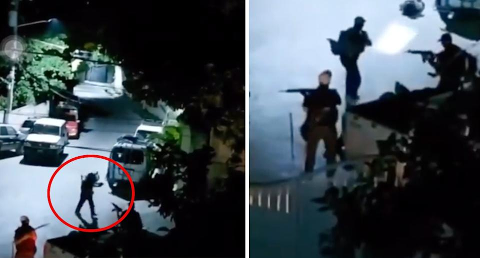 The gunmen are seen outside the home of Jovenel Moïse.