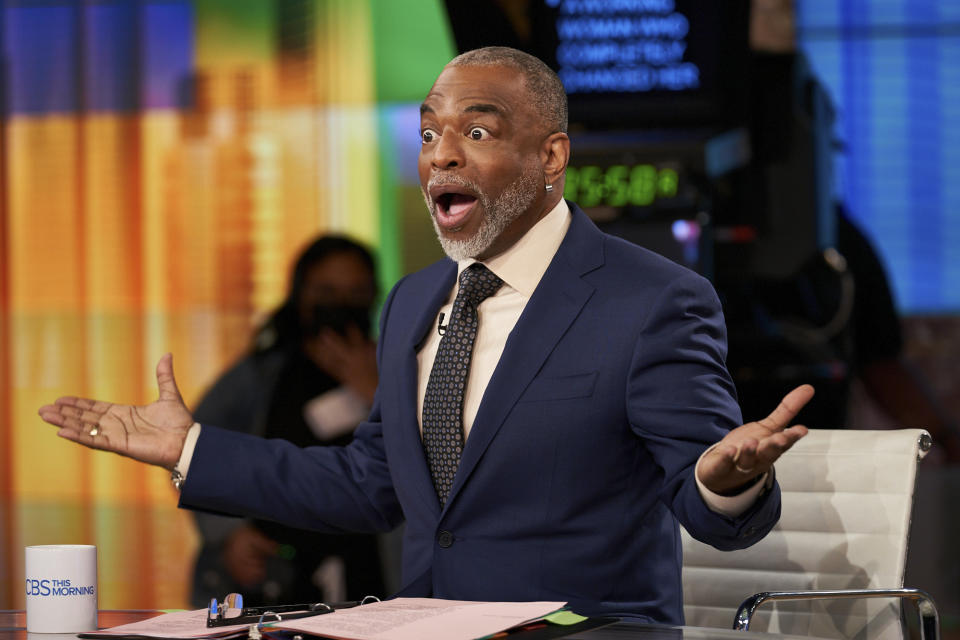 NEW YORK - APRIL 19: LeVar Burton joins CBS This Morning Co-Hosts Gayle King and Anthony Mason as Guest Host while Tony Dokoupil is on Parental leave, May 19, Live from the Broadcast Center in NY.  Pictured: LeVar Burton. (Photo by Clifton Prescod/CBS via Getty Images)