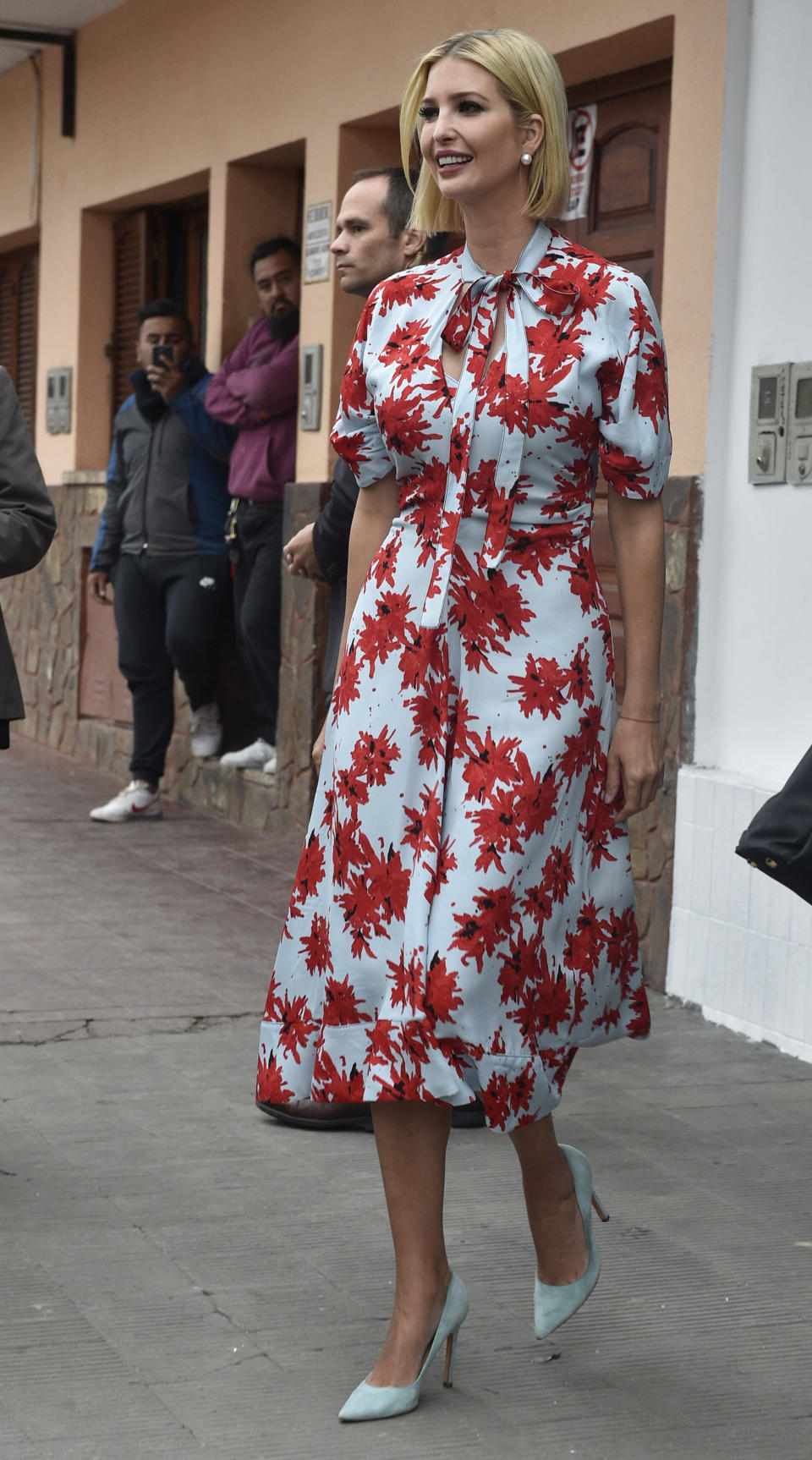 Ivanka Trump, President Donald Trump's daughter and White House adviser, leaves Graciela Cristina Alcocer's bakery during her visit to Jujuy, Argentina, Thursday, Sept. 5, 2019. Ivanka Trump is on the second stop of her South America trip aimed at promoting women's empowerment. (AP Photo/Gustavo Garello)