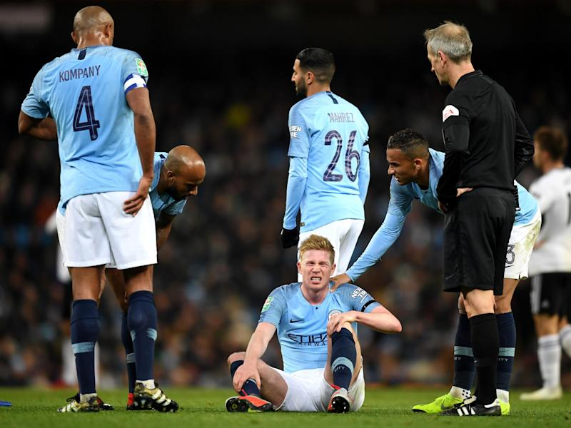 Kevin de Bruyne was substituted late on with an injury: Getty
