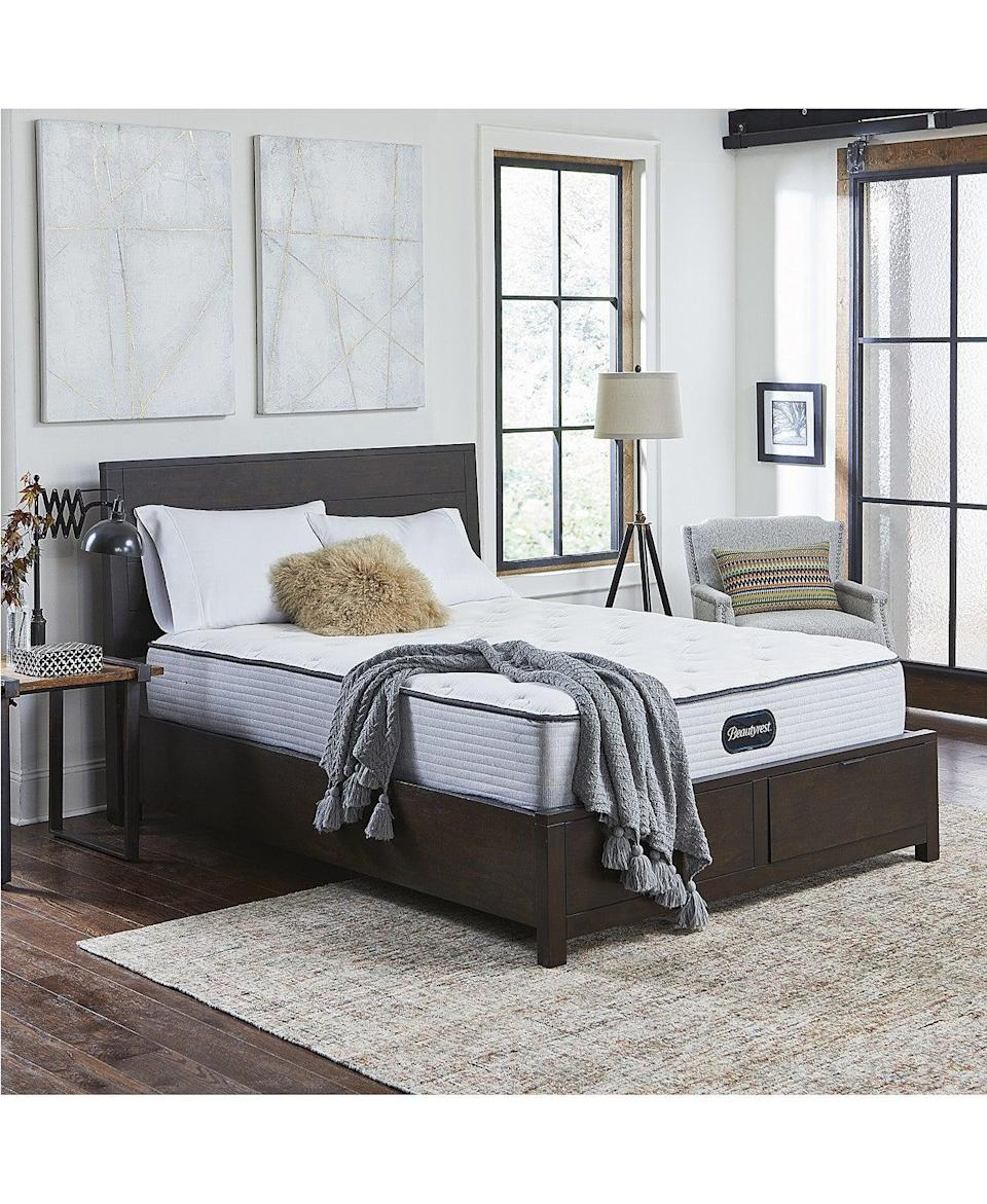 """<h3><a href=""""https://www.macys.com/"""" rel=""""nofollow noopener"""" target=""""_blank"""" data-ylk=""""slk:Macy's"""" class=""""link rapid-noclick-resp"""">Macy's</a></h3><br><strong>Sale:</strong> Save 25-60% off select items, plus enjoy up to an extra 20% off select departments<br><strong>Dates:</strong> Now — September 20<br><strong>Promo Code: </strong>WKND<br><br><strong>Beautyrest</strong> BR800 12"""" Medium Firm Mattress Set - Queen, $, available at <a href=""""https://go.skimresources.com/?id=30283X879131&url=https%3A%2F%2Fwww.macys.com%2Fshop%2Fproduct%2Fbeautyrest-br800-12-medium-firm-mattress-set-queen%3FID%3D8849154%26CategoryID%3D198570"""" rel=""""nofollow noopener"""" target=""""_blank"""" data-ylk=""""slk:Macy's"""" class=""""link rapid-noclick-resp"""">Macy's</a>"""