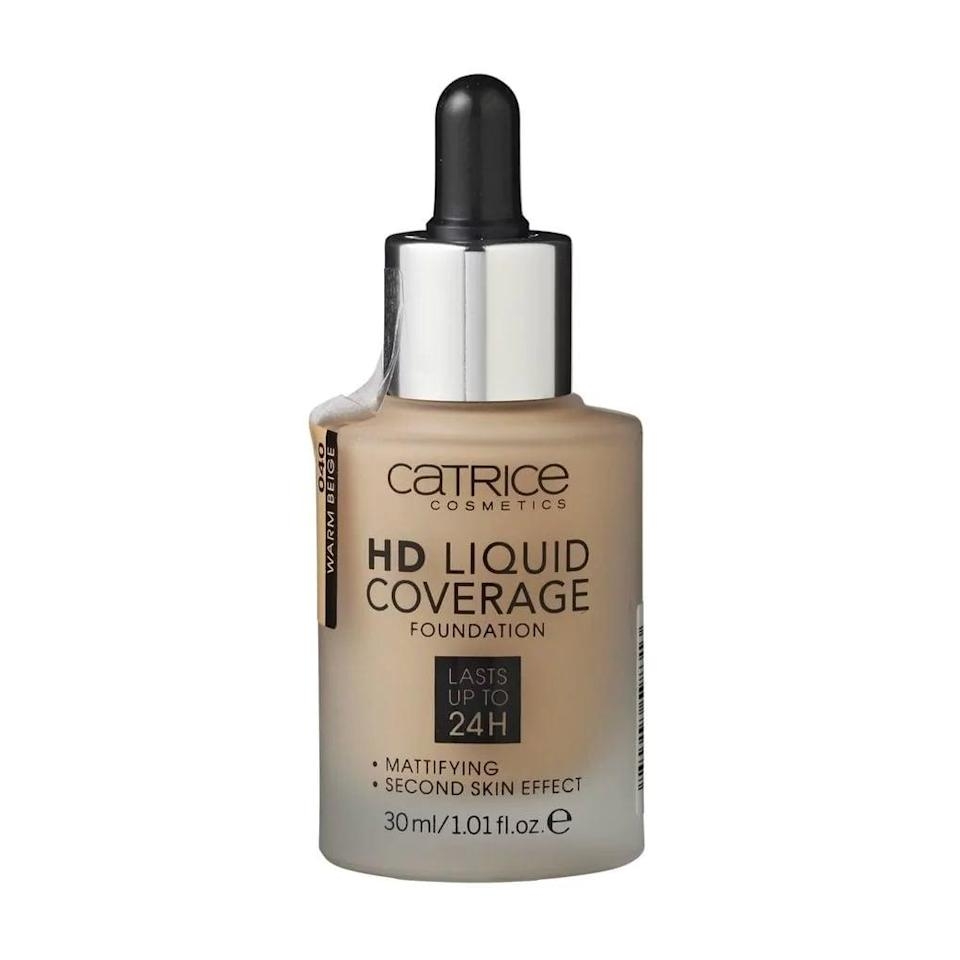 <p>For beauty on a budget, pick up the <span>Catrice HD Liquid Coverage Foundation</span> ($11). Without being too heavy on your skin, it will provide full coverage and last the entire day.</p>