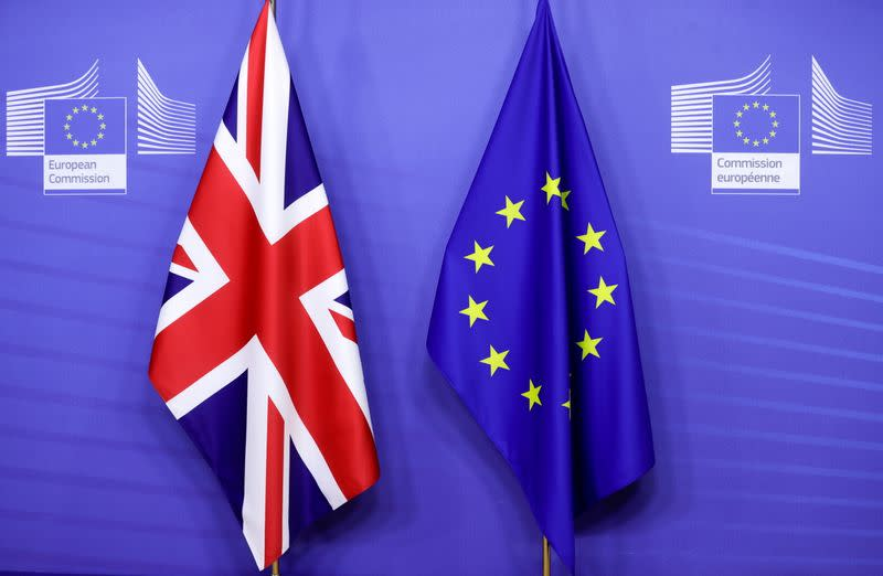 FILE PHOTO: British and European Union flags are seen ahead of a meeting of European Commission President Ursula von der Leyen and British Prime Minister Boris Johnson in Brussels