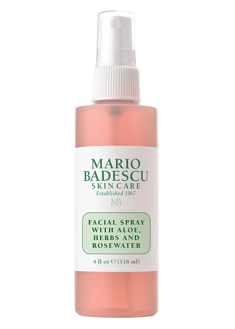 """<p>""""You can throw it in your purse and moisturize while you're on the run. Your skin will be like, 'Ohh, thank you, I needed that.' I'm spraying it right now! I love it.""""</p> <p><strong>Buy It!</strong> Mario Badescu Facial Spray with Aloe, Herbs and Rosewater, $7; <a href=""""https://ulta.ztk5.net/c/249354/164999/3037?subId1=PEOVivicaAFoxsStyleandBeautyEssentialsjfields1271StyGal12812182202107I&u=https%3A%2F%2Fwww.ulta.com%2Fp%2Ffacial-spray-with-aloe-herbs-rosewater-xlsImpprod6200727"""" rel=""""sponsored noopener"""" target=""""_blank"""" data-ylk=""""slk:ulta.com"""" class=""""link rapid-noclick-resp"""">ulta.com</a></p>"""