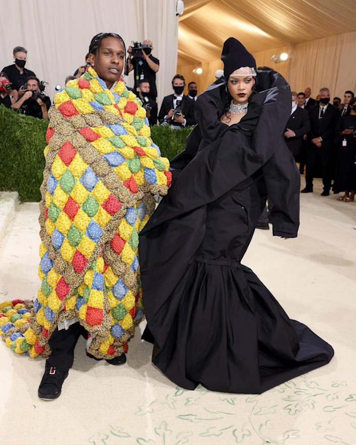 """<h2>Rihanna wearing Balenciaga & A$AP Rocky wearing ERL</h2><br>The unofficial queen of the Met Gala hath arrived. Let's all please bow down. <span class=""""copyright"""">Photo by John Shearer/WireImage.</span>"""