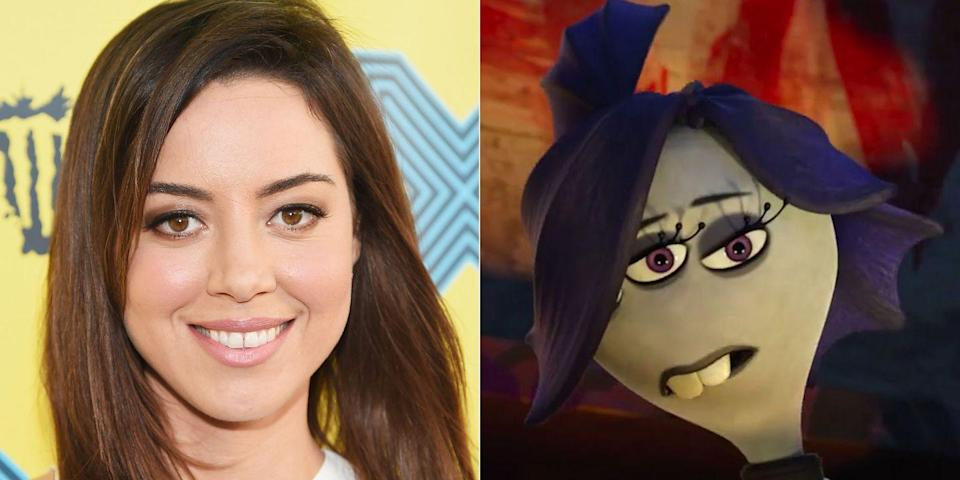 """<p>For the 2013 prequel to <em>Monsters, Inc</em>., Aubrey Plaza joined the cast as a monster who serves as president of the Greek Council. The character definitely has vibes of April Ludgate, who Plaza played on <em>Parks & Rec</em>. """"Claire is kind of like a gothic kind of monster,"""" she <a href=""""https://www.youtube.com/watch?v=T-BOiBdkkUo"""" rel=""""nofollow noopener"""" target=""""_blank"""" data-ylk=""""slk:said of the part"""" class=""""link rapid-noclick-resp"""">said of the part</a>. """"She likes to pretend like she doesn't care about anything, but she really does care about the Scare Games.""""</p>"""