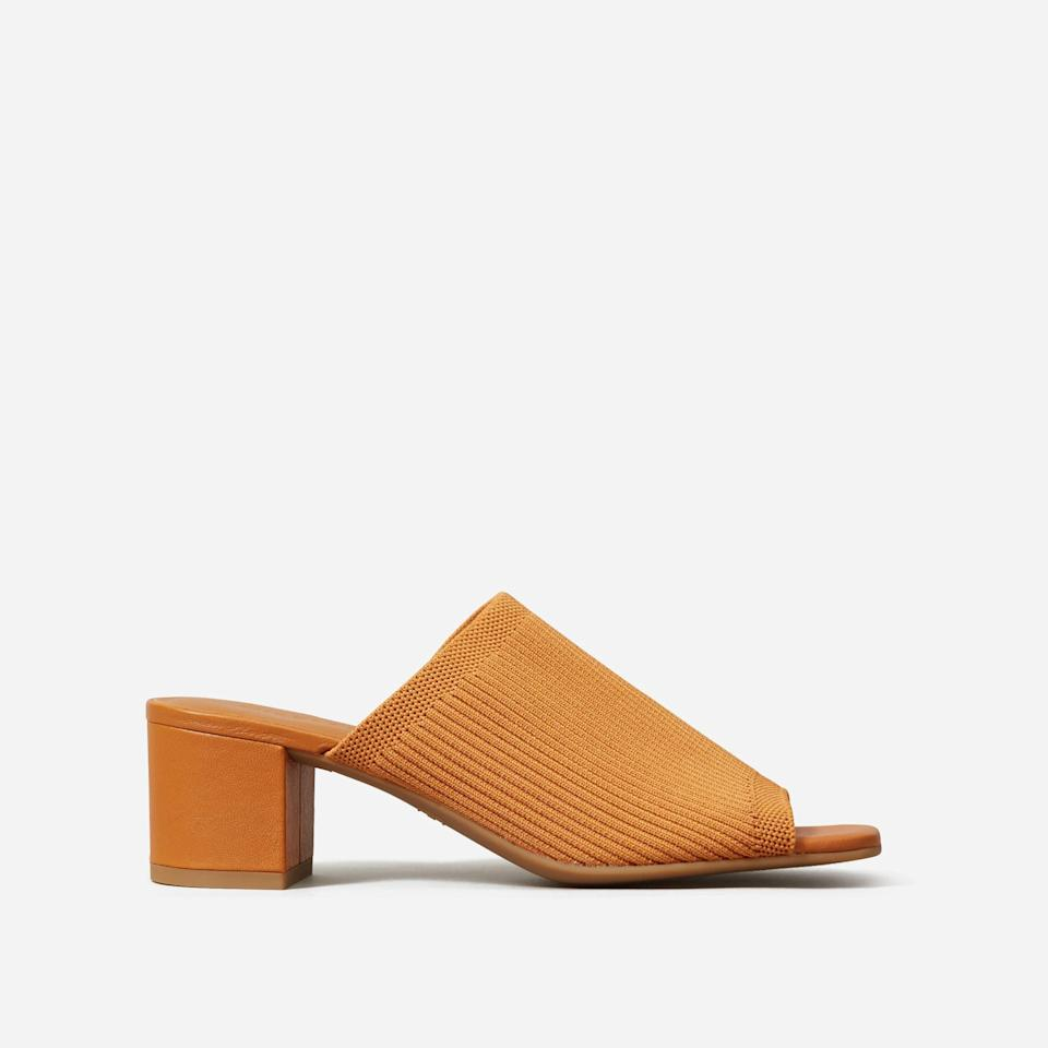 """<p><strong>everlane</strong></p><p>everlane.com</p><p><a href=""""https://go.redirectingat.com?id=74968X1596630&url=https%3A%2F%2Fwww.everlane.com%2Fproducts%2Fwomens-reknit-block-heel-sandal-toffee&sref=https%3A%2F%2Fwww.womenshealthmag.com%2Fstyle%2Fg35904128%2Feverlane-spring-sale-restock-2021%2F"""" rel=""""nofollow noopener"""" target=""""_blank"""" data-ylk=""""slk:Shop Now"""" class=""""link rapid-noclick-resp"""">Shop Now</a></p><p><strong><del>$98</del> $39 (60% off)</strong><br></p><p>Not only are these trendy mules perfect for the warm weather ahead, they also look great with everything from skinny jeans to a breezy sundress. </p>"""