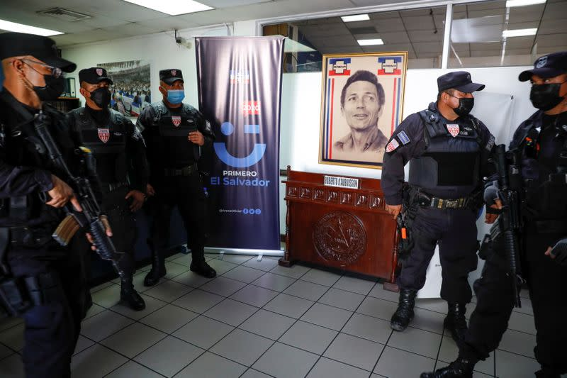 National Civil Police and Attorney General's Office conduct a raid at the ARENA party headquarters in San Salvador