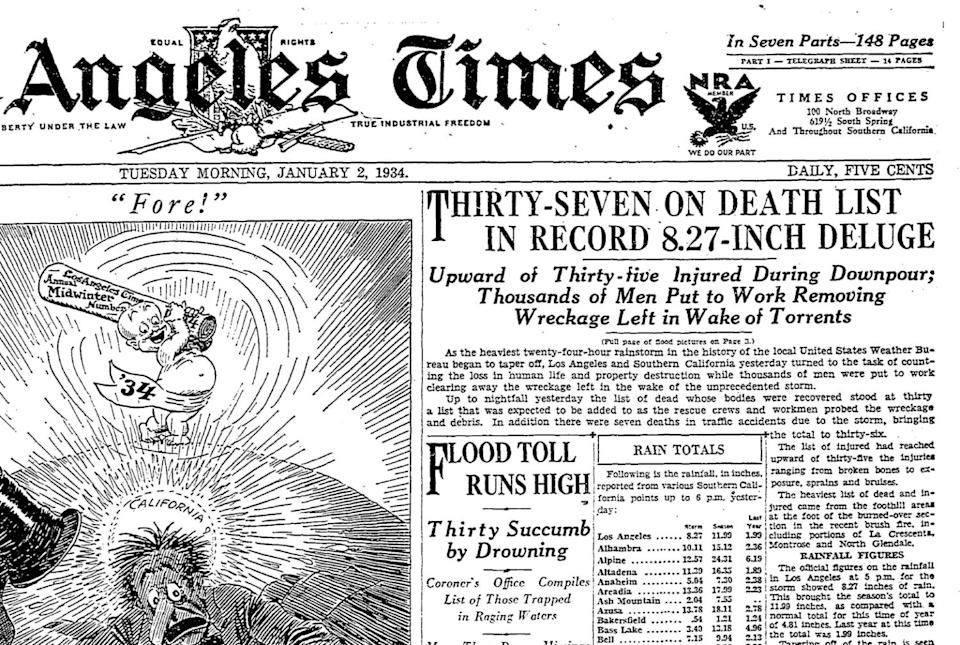 The deadly New Year's flood was front-page news in the Los Angeles Times.