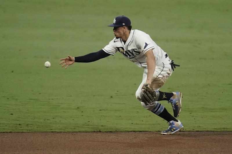 Tampa Bay Rays shortstop Willy Adames tries to catch.