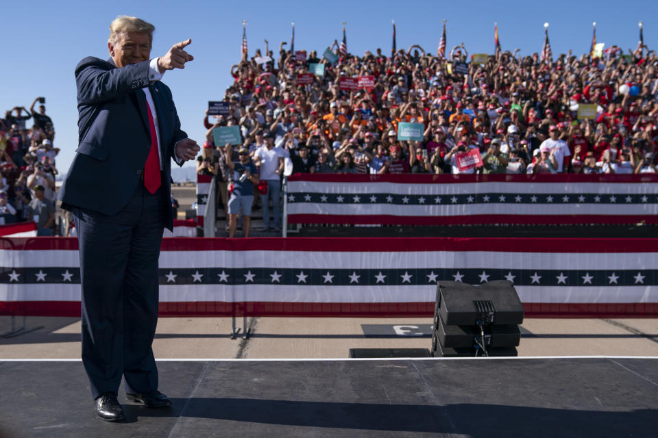 President Donald Trump arrives for a campaign rally at Phoenix Goodyear Airport, Wednesday, Oct. 28, 2020, in Goodyear, Ariz. (AP Photo/Evan Vucci)