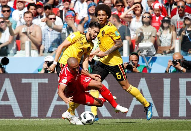 Soccer Football - World Cup - Group G - Belgium vs Tunisia - Spartak Stadium, Moscow, Russia - June 23, 2018 Tunisia's Wahbi Khazri in action with Belgium's Yannick Carrasco and Axel Witsel REUTERS/Christian Hartmann