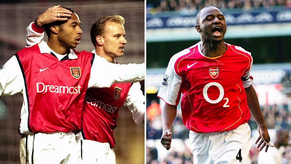 Seen here, Arsenal' greats Thierry Henry, Dennis Bergkamp and Patrick Vieira.