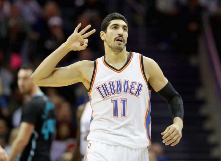 Enes Kanter has averaged 14.6 points and 6.8 rebounds for the Thunder. (Getty Images)