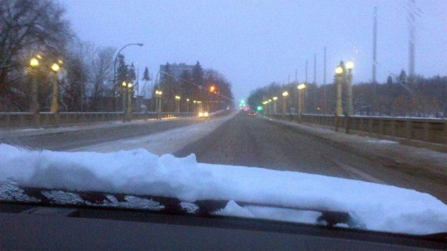 People in Regina woke up to find wet, heavy snow covering their car windshields.
