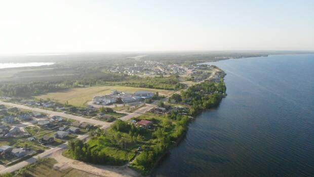 An aerial view of the village of La Loche, Sask. Clearwater River Dene Nation is located nearby.  (Submitted by Kalvin Jones - image credit)
