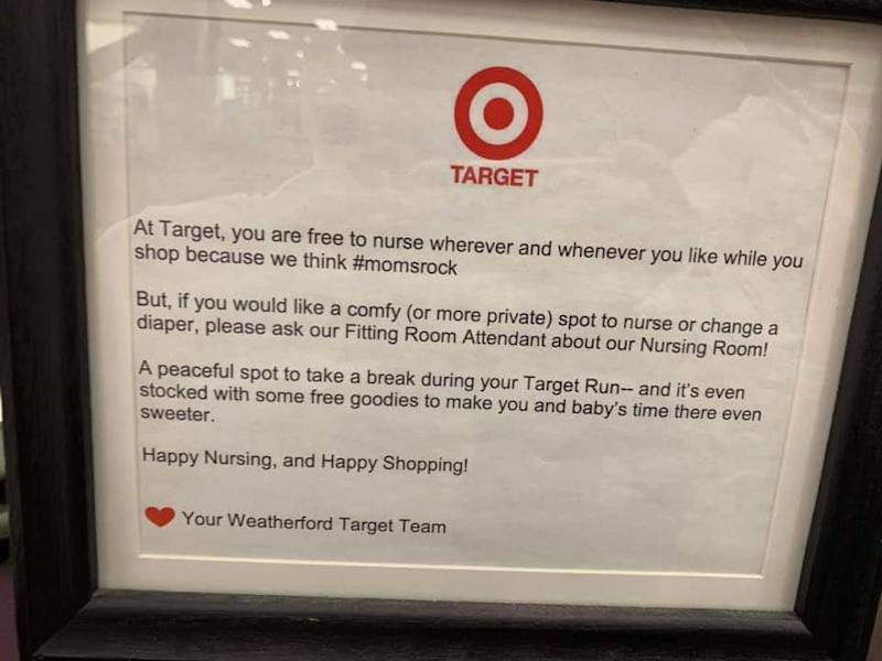 Target is being praised by moms after one customer shared a photo of this breastfeeding memo. (Photo: Facebook/Breastfeeding Mama Talk)