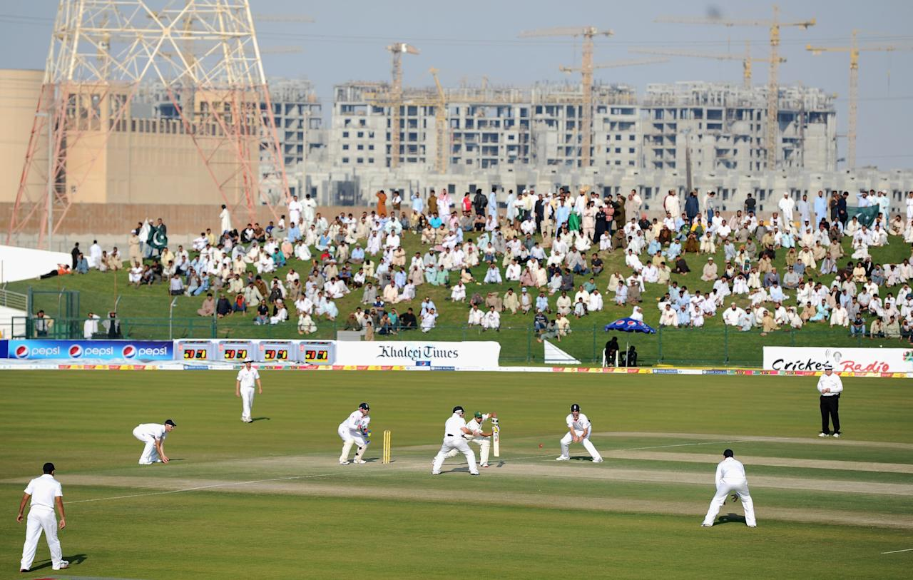 ABU DHABI, UNITED ARAB EMIRATES - JANUARY 27:  Azhar Ali of Pakistan bats during the second Test match between Pakistan and England at Sheikh Zayed Stadium on January 27, 2012 in Abu Dhabi, United Arab Emirates.  (Photo by Gareth Copley/Getty Images)