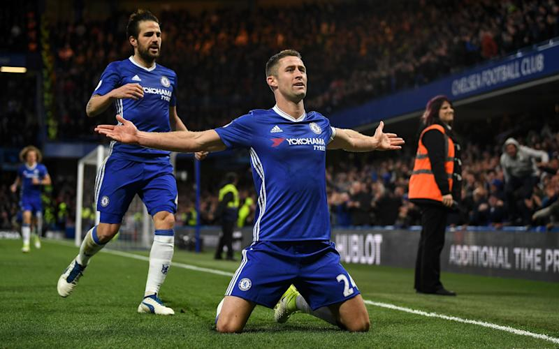 Gary Cahill of Chelsea celebrates as he scores their second goal during the Premier League match between Chelsea and Southampton - Credit: GETTY