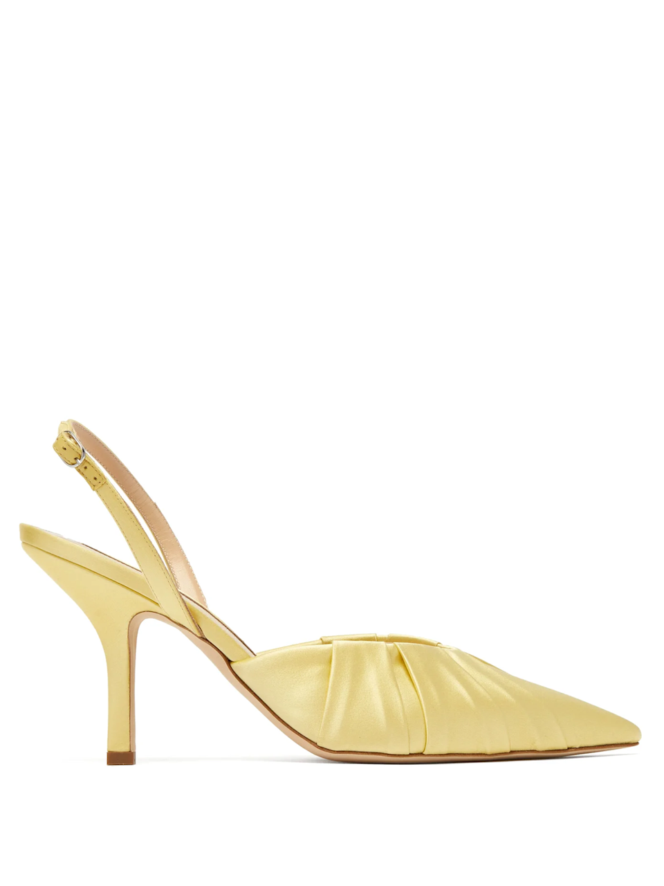 """<p>Midnight 00</p><p><a href=""""https://www.matchesfashion.com/us/products/Midnight-00-Gathered-point-toe-satin-slingback-pumps-1334499"""" rel=""""nofollow noopener"""" target=""""_blank"""" data-ylk=""""slk:Matchesfashion.com"""" class=""""link rapid-noclick-resp"""">Matchesfashion.com</a></p><p>$870.00</p><p>Bet you didn't expect your next nighttime shoe to be this color.</p>"""