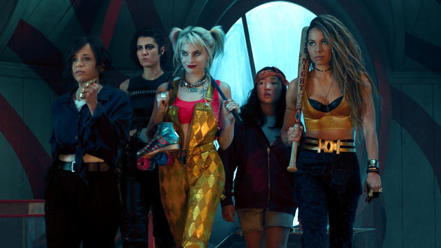 Rosie Perez, Mary Elizabeth Winstead, Margot Robbie, Ella Jay Basco and Jurnee Smollett-Bell in 'Birds of Prey'. (Credit: Claudette Barius/Warner Bros/DC)