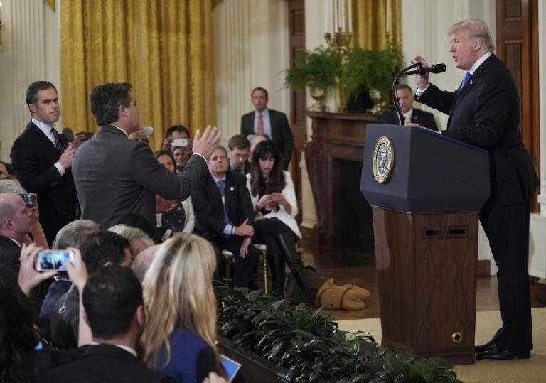 Trump told Acosta to sit down and demanded someone take away his microphone. Image AFPMore