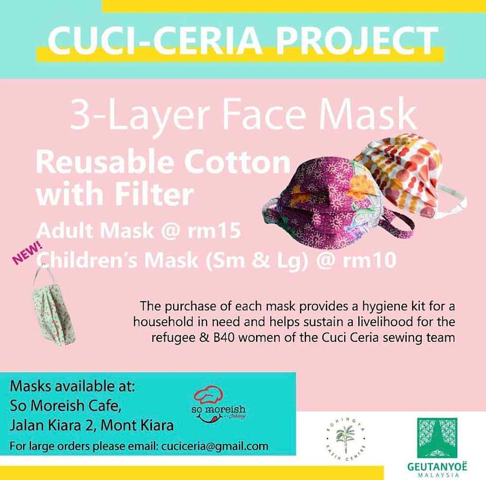 Proceeds from the mask help provide hygiene kits to low-income households to help them stay safe during the pandemic. — Picture courtesy Facebook/CuciCeriaProject