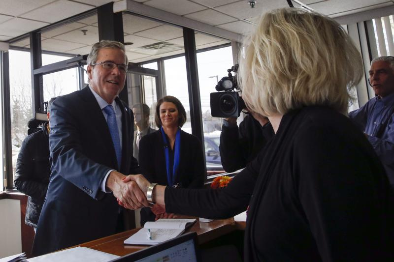 Former Florida Governor Jeb Bush shakes hands during a visit to Integra Biosciences at a campaign stop in Hudson, New Hampshire