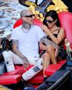 <p>Another day in Venice, another opportunity to canoodle on a boat! Dressed in complementary black-and-white looks, the pair looked giddy while enjoying a gondola ride together. </p>