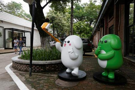 WeChat mascots are displayed inside TIT Creativity Industry Zone where Tencent office is located in Guangzhou, China May 9, 2017. Picture taken May 9, 2017.     REUTERS/Bobby Yip