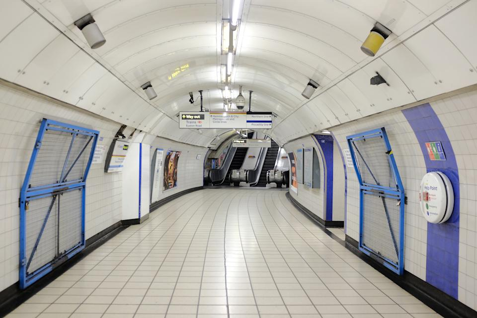 An empty Kings Cross tube station in London, the day after Prime Minister Boris Johnson called on people to stay away from pubs, clubs and theatres, work from home if possible and avoid all non-essential contacts and travel in order to reduce the impact of the coronavirus pandemic.