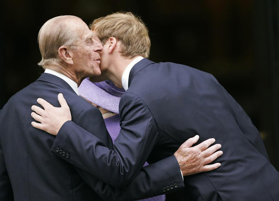 <p>Prince William greeted his grandfather in an emotional moment at the 10th Anniversary Memorial Service for his mother, Princess Diana, in 2007 Photo: Getty Images.</p>