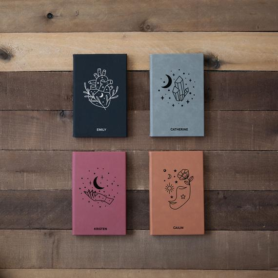"""<br><h2>Moon Crystal Magic Personalized Journals</h2><br>There are few things that feel better than jotting down some thoughts in a cute journal, therefore, making them a great gift for any writer. <br><br><em>Shop <strong><a href=""""https://fave.co/2HgCfDb"""" rel=""""nofollow noopener"""" target=""""_blank"""" data-ylk=""""slk:Good Cabin"""" class=""""link rapid-noclick-resp"""">Good Cabin</a></strong></em><br><br><br><strong>goodcabin</strong> Moon Crystal Magic Personalized Journals, $, available at <a href=""""https://go.skimresources.com/?id=30283X879131&url=https%3A%2F%2Ffave.co%2F2T868bu"""" rel=""""nofollow noopener"""" target=""""_blank"""" data-ylk=""""slk:Etsy"""" class=""""link rapid-noclick-resp"""">Etsy</a>"""