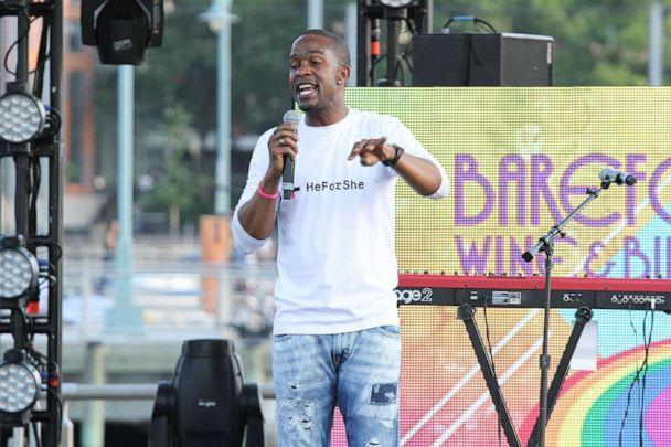 PHOTO: Former NFL player Wade Davis speaks at New York City Pride 2015 Rally at Pier 26 on June 26, 2015, in New York. (Rob Kim/WireImage/Getty Images, FILE)