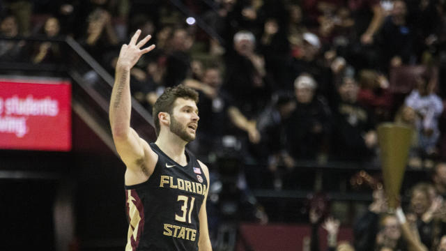 Florida State forward Wyatt Wilkes (31) flashes a three after hitting a three point shot the first half of an NCAA college basketball game against Notre Dame in Tallahassee, Fla., Saturday, Jan. 25, 2020. (AP Photo/Mark Wallheiser)