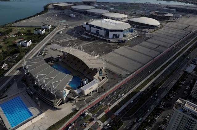 An aerial view shows the Olympic park which was used for the Rio 2016 Olympic Games Rio de Janeiro