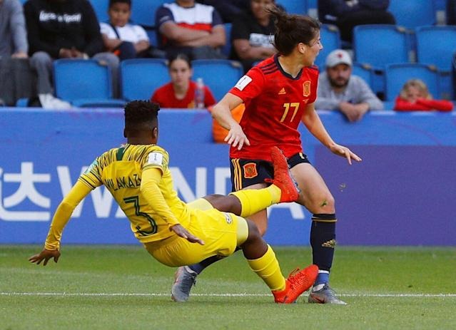 Nothando Vilakazi's hanging cleat drives into the leg of Spain's Lucia Garcia during the Women's World Cup on Saturday. (Reuters)