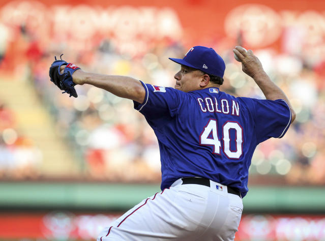 Texas Rangers starting pitcher Bartolo Colon delivers in the first inning of a baseball game against the New York Yankees, Monday, May 21, 2018, in Arlington, Texas. (AP Photo/Richard W. Rodriguez)