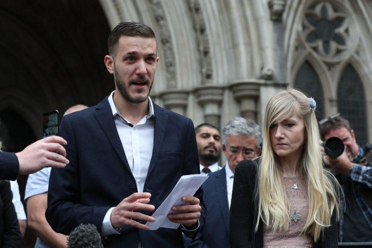 Chris Gard was reduced to tears as he read a statement outside the High Court (Getty)