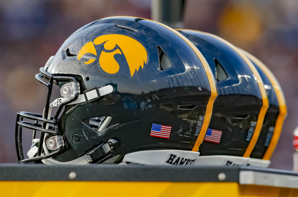 WEST LAFAYETTE, IN - NOVEMBER 03: General view of Iowa Hawkeyes helmets are seen during the game against the Purdue Boilermakers at Ross-Ade Stadium on November 3, 2018 in West Lafayette, Indiana. (Photo by Michael Hickey/Getty Images)