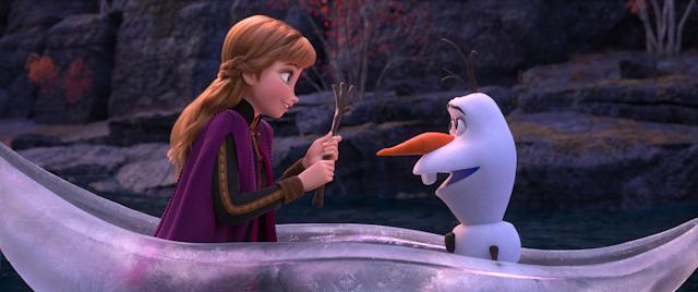 Anna and Olaf venture far from Arendelle in a dangerous but remarkable journey in Walt Disney Animation Studios' <em>Frozen 2</em> (©2019 Disney. All Rights Reserved.)