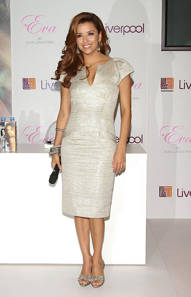 """South of the border at the Liverpool store in Mexico City, """"Desperate Housewives"""" star Eva Longoria Parker attended the launch of her fragrance -- appropriately named """"Eva"""" -- in a shimmering sheath, stacked bracelets, and her signature smile. Victor Chavez/<a href=""""http://www.wireimage.com"""" target=""""new"""">WireImage.com</a> - August 28, 2010"""