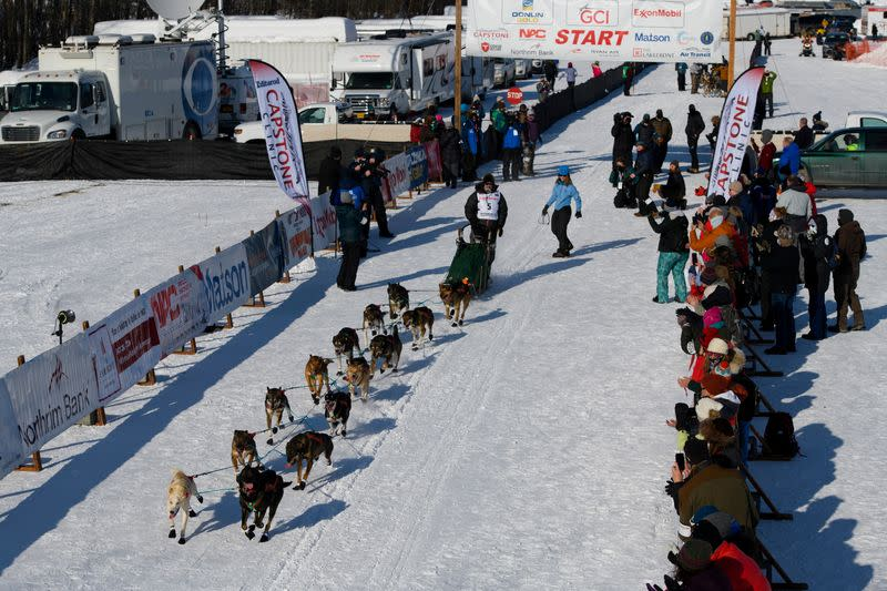 Jeremy Traska, a rookie from Two Rivers, leaves the Iditarod Sled Dog Race starting area