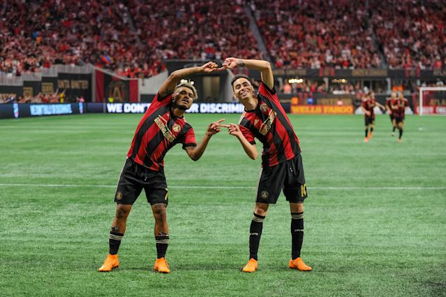 """Josef Martínez and Miguel Almirón's """"Fusion"""" celebration from their Atlanta United days. (Photo by John Adams/Icon Sportswire via Getty Images)"""