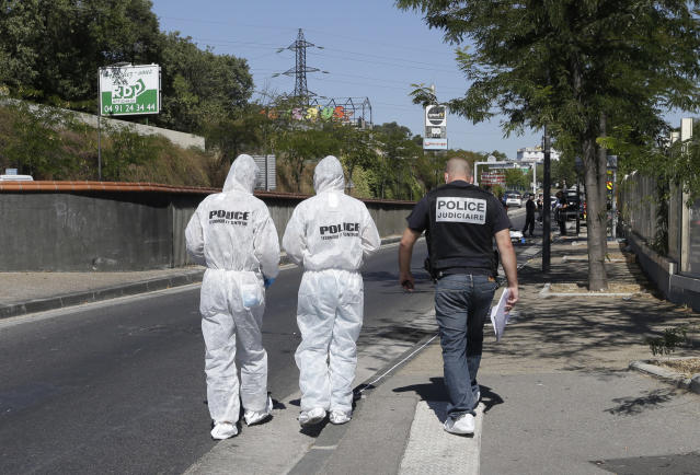 <p>Policce officers arrive at a bus stop in La Valentine district after a van rammed into two bus stops in the French port city of Marseille, southern France, Aug. 21, 2017. (Photo: Claude Paris/AP) </p>