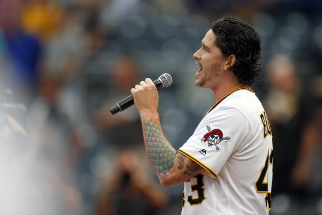 Pittsburgh Pirates pitcher Steven Brault sang the national anthem prior to a game last month. (Getty Images)