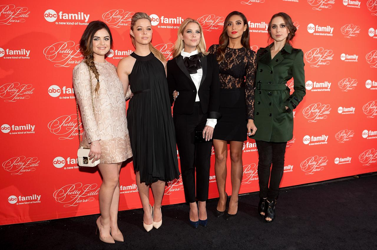 "NEW YORK, NY - MARCH 18: (L-R) Lucy Hale, Sasha Pieterse, Ashley Benson, Shay Mitchell, and Troian Bellisario attend the ""Pretty Little Liars"" season finale screening at Ziegfeld Theater on March 18, 2014 in New York City. (Photo by D Dipasupil/Getty Images)"